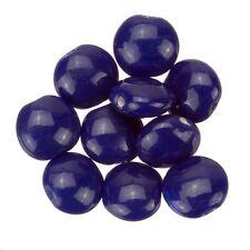 Shiny Opaque Indigo Smartie Disc Shape Glass Beads 12x6mm Pack of 10 (B13/6)