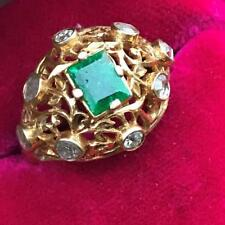 Vintage Strait Chinese Peranakan 15 KT Solid Gold Rose cut diamonds Emerald Ring