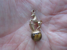 RARE Good size Quality 9ct GOLD Charm / Pendant  Standing HORSE Tigers Eye  VGC