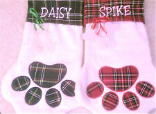 Embroidered, Personalized Monogramed Dog Or Cat Paw Plush Christmas Stockings