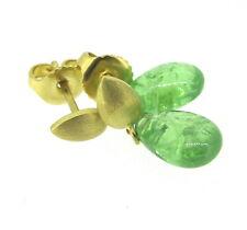 18k Yellow Gold Matte Green Stone Butterfly Backs Drop Earrings
