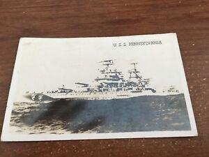 1941 RPPC Battleship BB-38 USS Pennsylvania sailor's mail