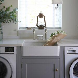 Medium Gloss White 600x400x160 Ceramic Belfast Butler Kitchen Sink & Waste