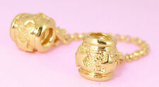SOLID 9CT 9K GOLD STARS Threaded Safety Chain FIT EUROPEAN CHARM BEAD BRACELET