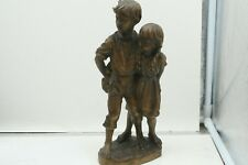 """Vintage Anri Hand Carved Boy and Girl Hiding Cakes Sculpture 10"""""""