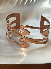 Wide Cuff Bracelet – marked on Vintage Renoir Signed Solid Copper Cut-Out Swirl