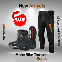 Motorbike Leather Boots Cordura Trouser/Pant Motorcycle Short Ankle Racing Shoes