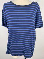 NWOT XL Chaps Classics Womens Short Sleeve Shirt Nautical Blue Navy Cotton