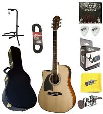 Oscar Schmidt OG2CELH A/E Dreadnought Lefty Guitar w/BK Hard Case + More