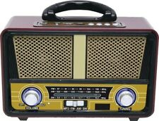 QFX RETRO90 AM FM MP3 SW Bluetooth Retro Radio Brown