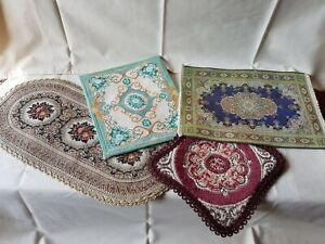 Dolls house mixed lot rugs carpets including hand stitched. See description