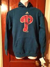 Adidas Blue Philadelphia Phillies Baseball Kid Hooded Sweat Shirt New Size 14-16