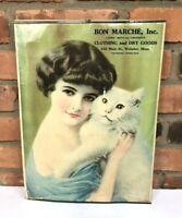 BON MARCHE Inc Vintage Advertisement Sign Poster c1900 Girl Cat ~ Webster, Mass.
