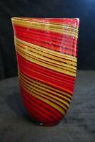 Murano Italian Art Glass - RED + TAN STRIPED VASE ***Centerpiece for Flowers***