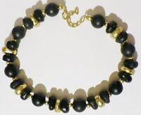 collier rétro perle résine bijou vintage couleur or et noir mat couleur or * C2