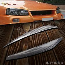 Carbon Fiber Headlight Eyebrow Eyelids for Nissan Skyline GTR GT-T R34 1999 2002