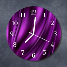 Glass Wall Clock Kitchen Clocks 30 cm round silent Abstract Purple