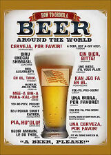 REPRINT PICTURE of beer sign HOW TO ORDER A BEER AROUND THE WORLD 5x7