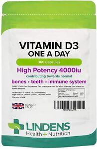 Vitamin D3 4000IU High Strength 360 Soft Gel Capsules, Immune Health Lindens