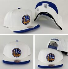 Mitchell and Ness White Golden State Warriors Dip Visor Adjustable snapback Hat