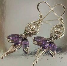 925 Sterling Silver purple CZ Marcasite BALLERINA Design Hook Earrings oxidised