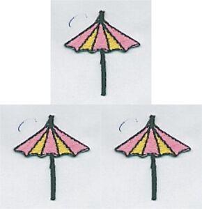 Lot De 3 Rose Jaune Plage Parapluie Broderie Patch