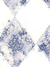 Wallpaper  Navy Blue Faux Harlequin Diamond On White