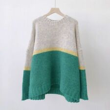 Patchwork Oversize Knitted Cashmere Sweater Women V-Neck Winter Autumn Pullover
