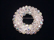 Crystal Circle Brooch Aurora Borealis Makes a Nice Christmas Wreath Pin