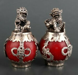 QA29 A pair Chinese old Tibet silver hand carved Armor Jade Dragon Lion Statue