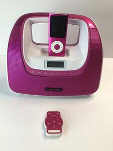 Memorex MiniMove Apple iPod Dock FM Radio Boombox Pink with Remote & iPod 8 Gig