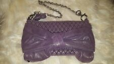 Convertible Juicy Couture Handbag Purse to Clutch - Shimmer Purple Bow Quilted