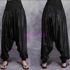 Folk style Women's Mens Hippie Baggy Harem Loose Long Pants Trousers Baggy Black