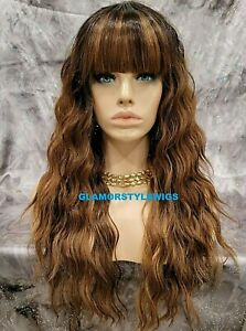 HUMAN HAIR BLEND FULL WIG LONG WAVY LAYERED BANGS OMBRE BROWN HAZELNUT MIX NEW