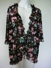 Ladies Jacket Size 22 Brown Floral Tie up Sheer Short Sleeve Ruffle