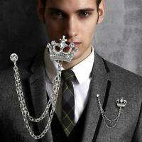 Silver Crown Chain Tassels Suit Brooch Lapel Pin Neck Collar Tip Mens Rhinestone