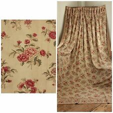 Antique French 1880 Curtain drape 19th century Victorian era floral backed old