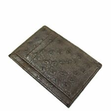 Brown Genuine Ostrich Skin Leather Men's Credit Card Holder Wallet