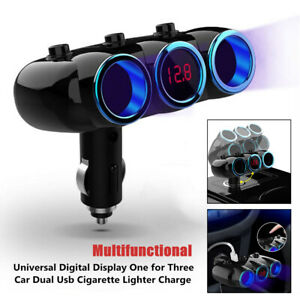 Car Dual USB Universal Digital Display One for Three Cigarette Lighter Charger
