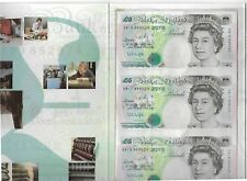 UNCUT SHEET OF THREE FIVE POUND NOTES BANK OF ENGLAND CONSECUTIVE  NUMBERS