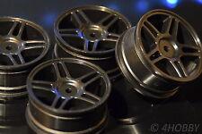 4 Räder Felgen 1/10 Schwarz 1:10 RC Car Rim 26mm 52mm Modellbau Auto On-Road 10