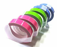 (6 rolls) Embossing Tapes Refill Pastel colors 9mm x 2m for Label Maker Korea