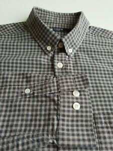 Tiger of Sweden Button Down Shirt Long Sleeve in Grey Check Cotton *M* TR50
