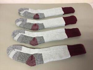 NWOT Boy's Merino Wool Blend Long Top Socks Small Grey w/ Burgundy 4 Pair #681R
