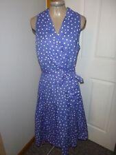 Women's Evan Picone Blue & White Polka Dot Sleeveless Dress Sz 10