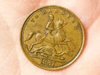 1837 Brass Victoria TO HANOVER Token Gaming Counter #R49