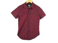 G-STAR RAW Mens Short Sleeve Pearl Snap Red & Navy Plaid / Check Shirt Size S