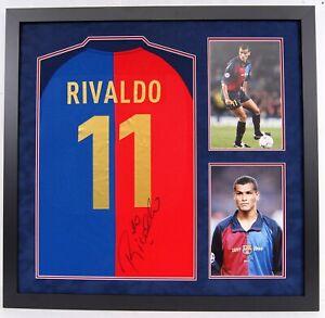 Rivaldo Signed & Framed Jersey Barcelona Brazil Genuine Signature AFTAL COA (C)