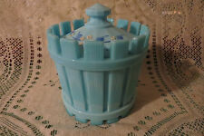 Westmoreland Glass Straw Jar Canister Blue  H.P. Signed  B. Parry 1979