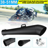 38~51mm Motorcycle Slip-On Muffler Exhaust Tail Pipe W/ Silencer Stainless Steel